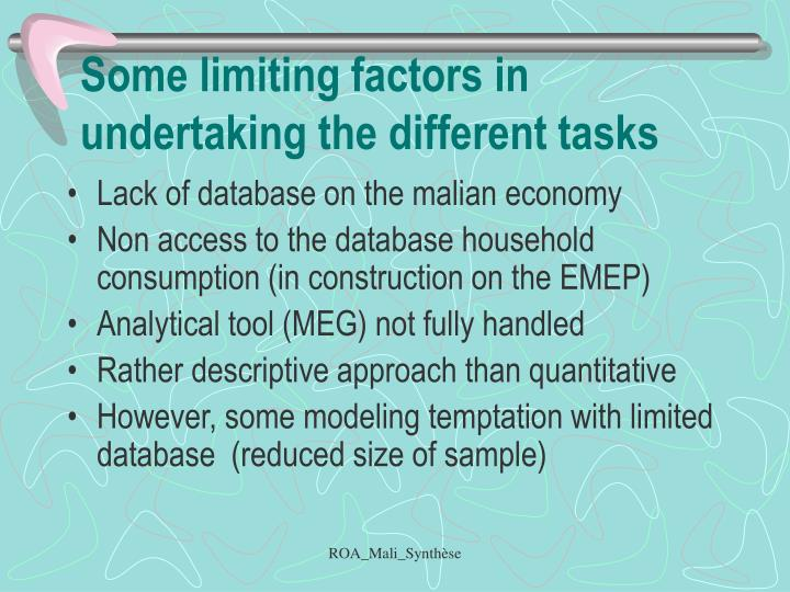 Some limiting factors in undertaking the different tasks