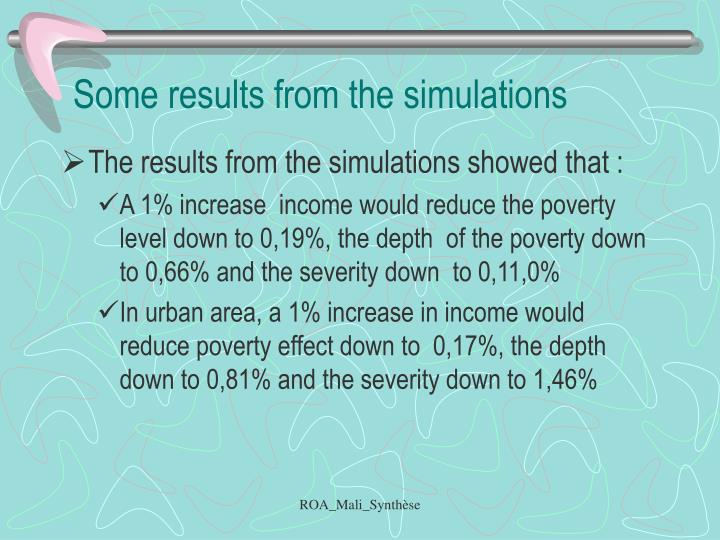 Some results from the simulations
