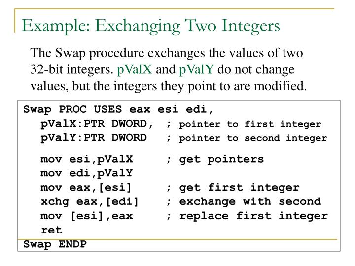 Example: Exchanging Two Integers