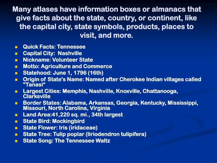 Many atlases have information boxes or almanacs that give facts about the state, country, or continent, like the capital city, state symbols, products, places to visit, and more.