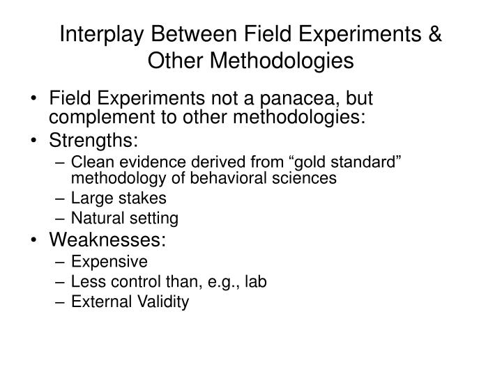 Interplay Between Field Experiments & Other Methodologies