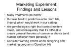 marketing experiment findings and lessons