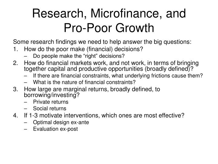 Research microfinance and pro poor growth
