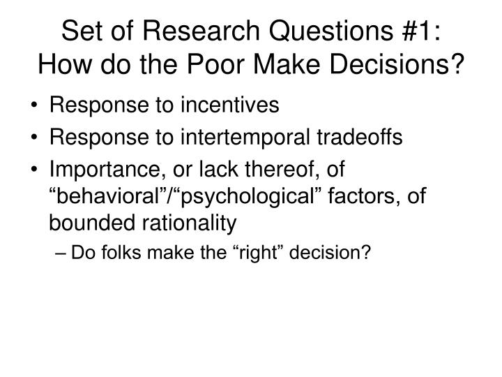 Set of Research Questions #1: