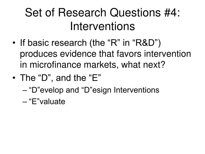Set of Research Questions #4: