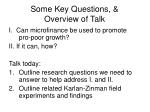 some key questions overview of talk