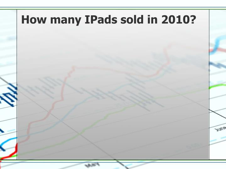 How many IPads sold in 2010?