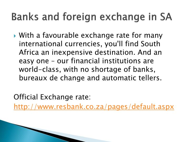 Banks and foreign exchange in SA