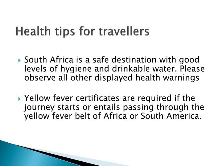 Health tips for travellers