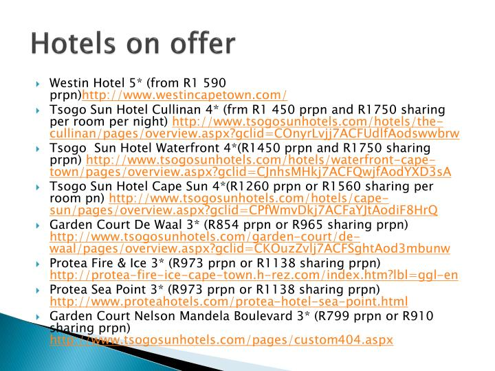 Hotels on offer