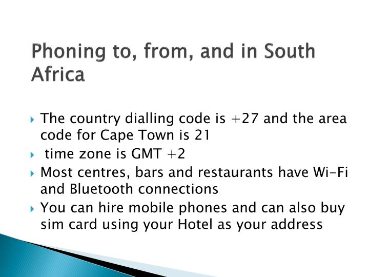 Phoning to, from, and in South Africa