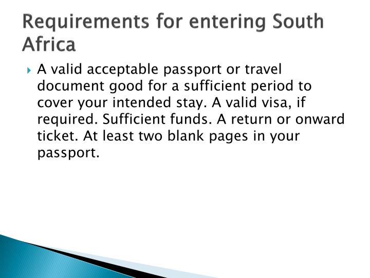 Requirements for entering South Africa