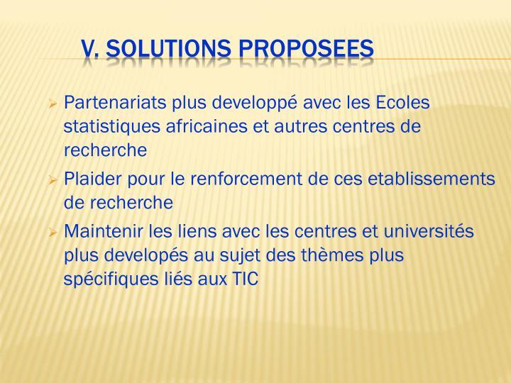 Partenariats plus developpé avec les Ecoles statistiques africaines et autres centres de recherche