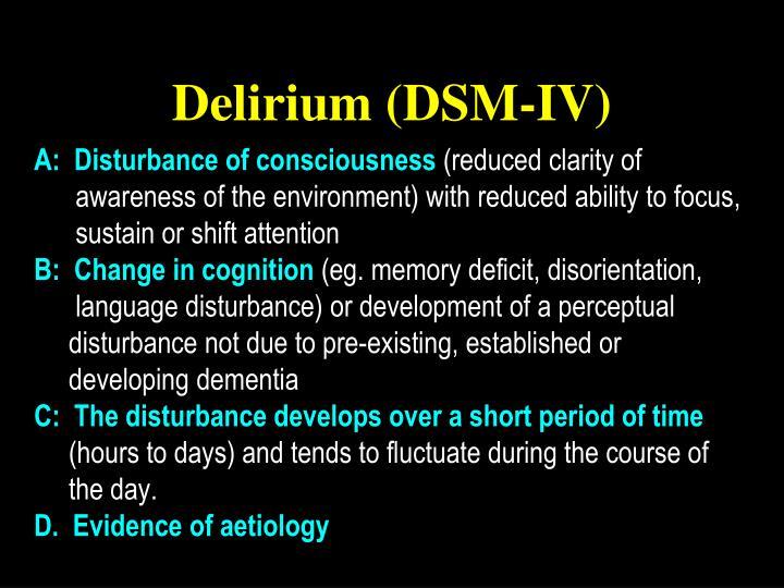 Delirium (DSM-IV)