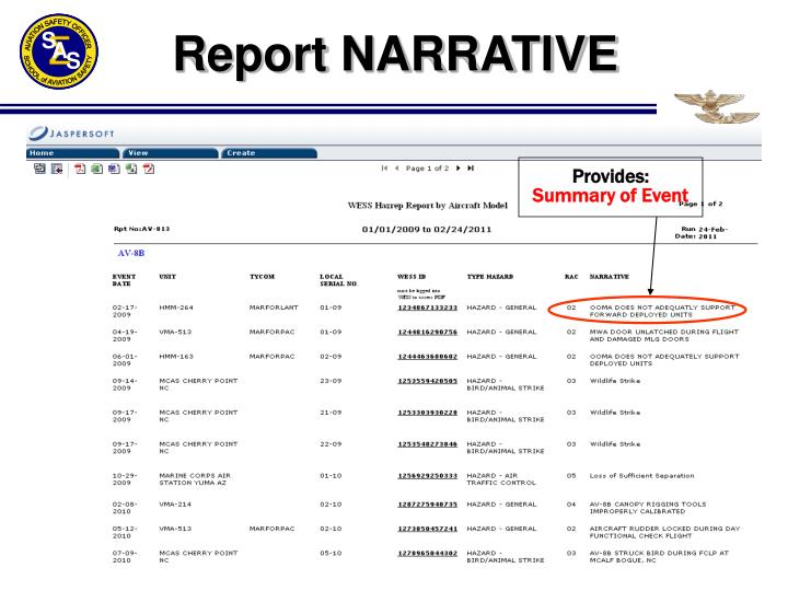 Report NARRATIVE