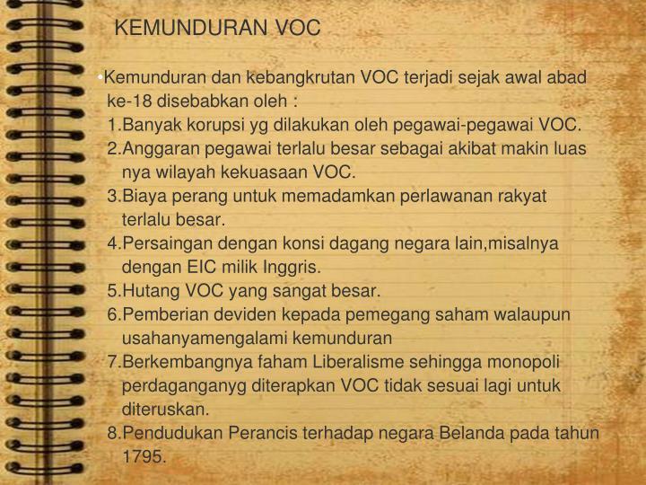 KEMUNDURAN VOC
