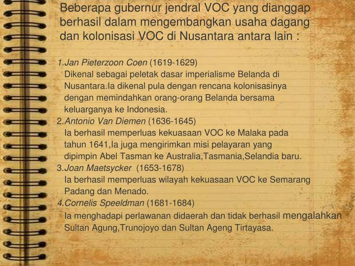 Beberapa gubernur jendral VOC yang dianggap