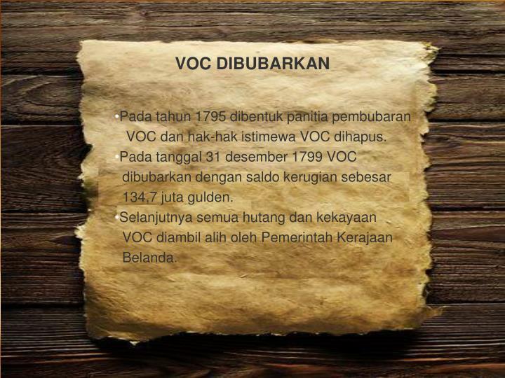 VOC DIBUBARKAN