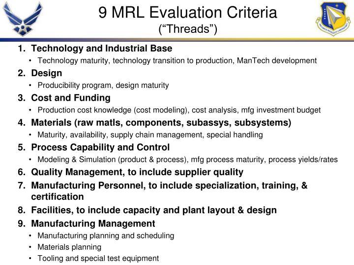 9 MRL Evaluation Criteria