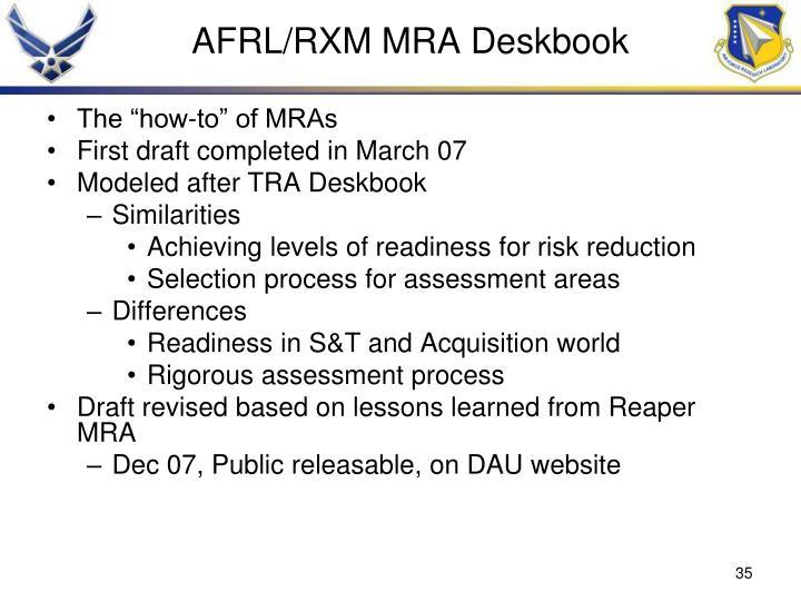 AFRL/RXM MRA Deskbook