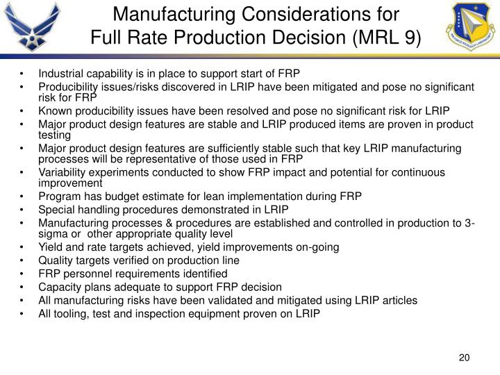 Manufacturing Considerations for