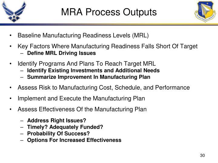 MRA Process Outputs
