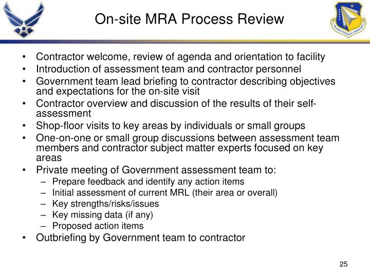 On-site MRA Process Review