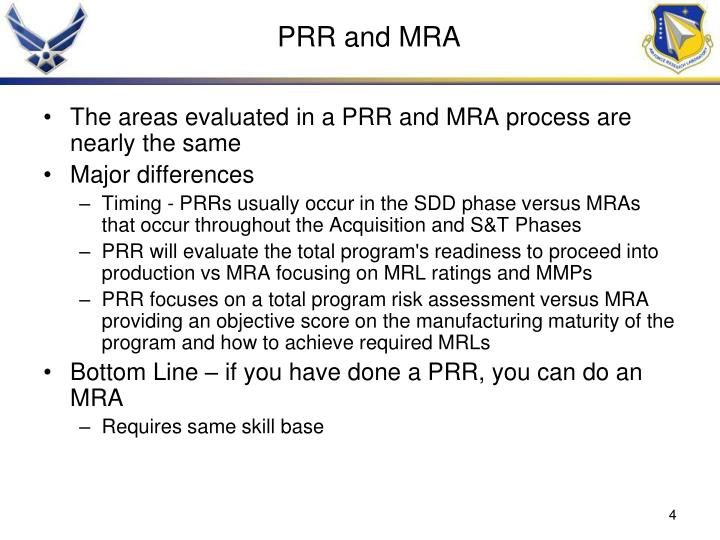 PRR and MRA