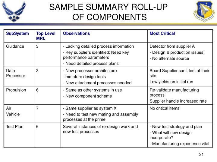 SAMPLE SUMMARY ROLL-UP
