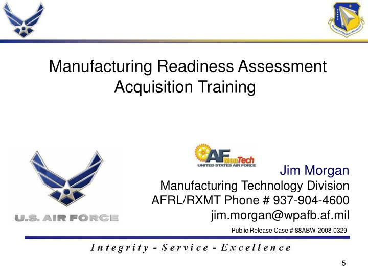 Manufacturing Readiness Assessment Acquisition Training