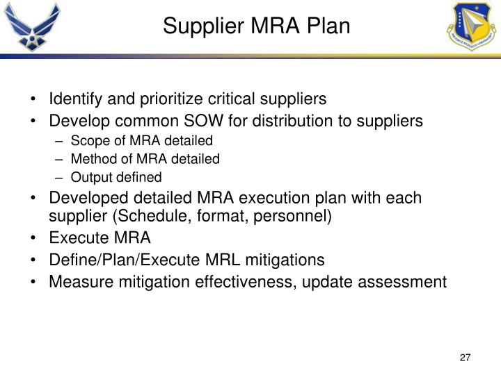 Supplier MRA Plan