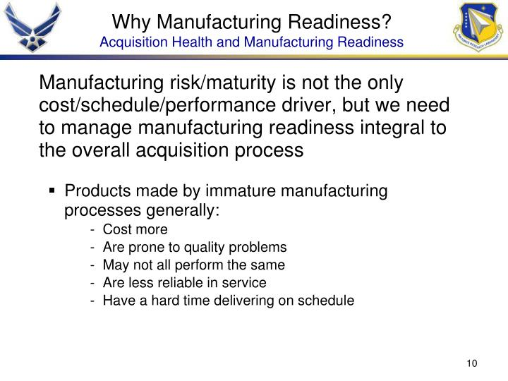 Why Manufacturing Readiness?