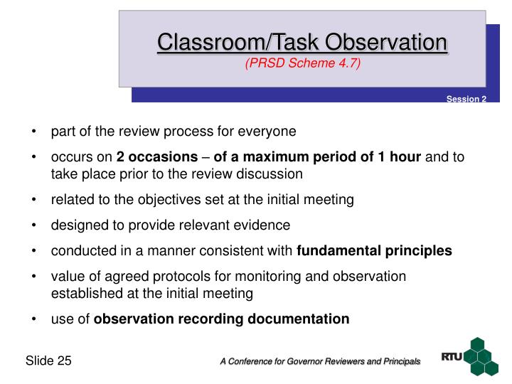Classroom/Task Observation