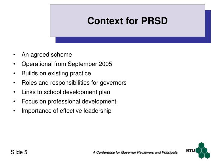 Context for PRSD