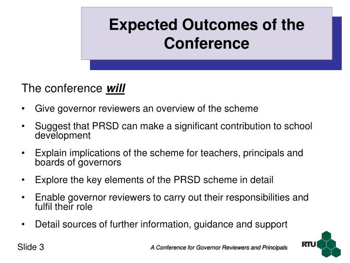 Expected outcomes of the conference