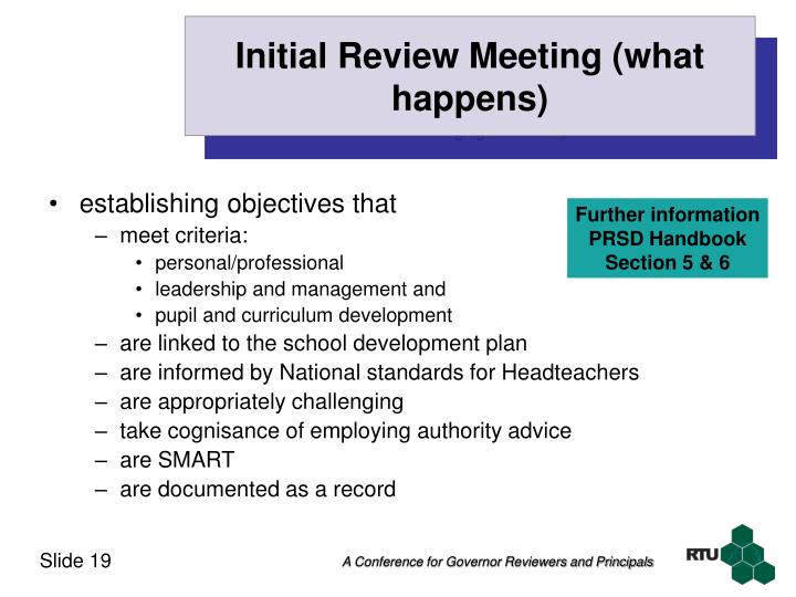 Initial Review Meeting (what happens)