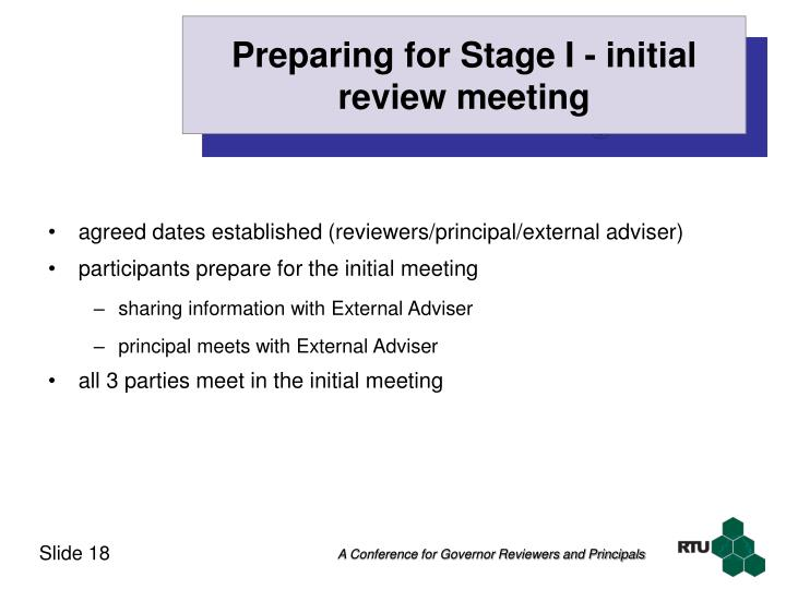 Preparing for Stage I - initial review meeting