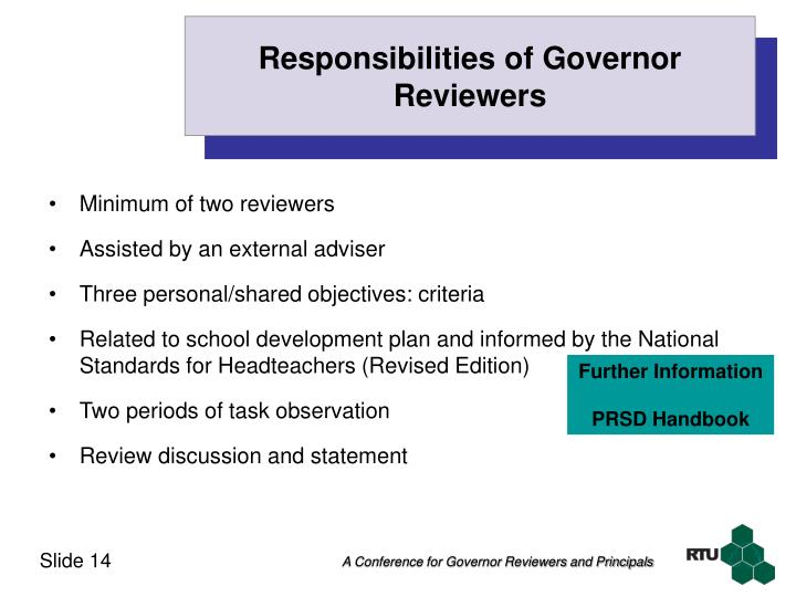 Responsibilities of Governor Reviewers
