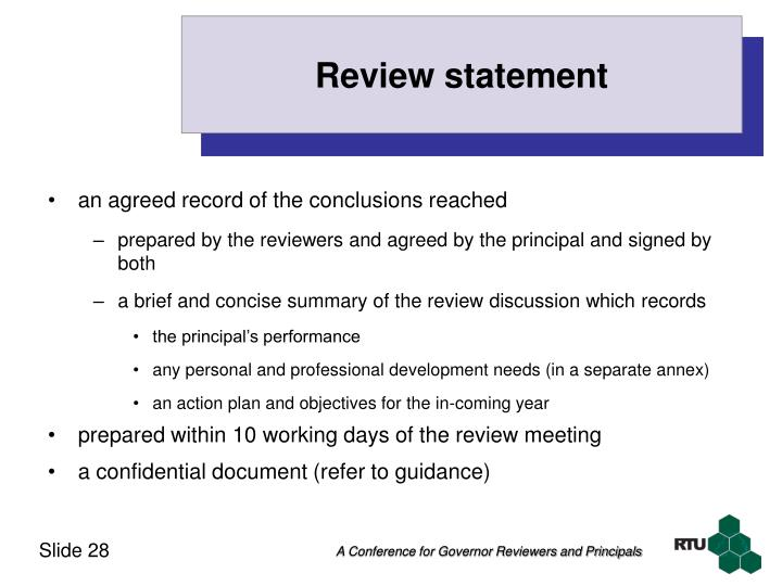 Review statement