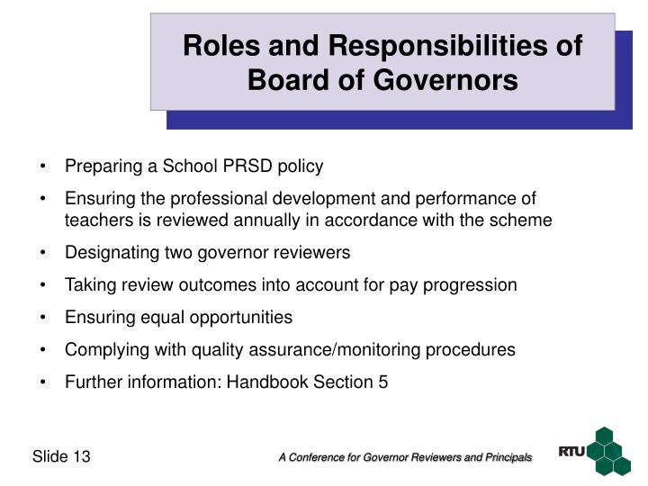 Roles and Responsibilities of Board of Governors