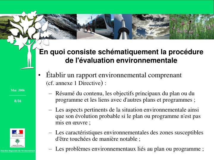 Établir un rapport environnemental comprenant