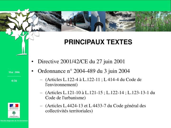 Directive 2001/42/CE du 27 juin 2001