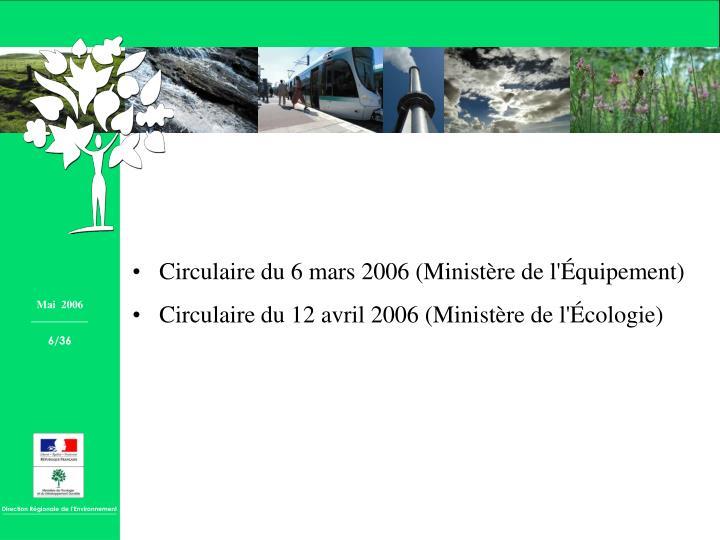 Circulaire du 6 mars 2006 (Ministère de l'Équipement)