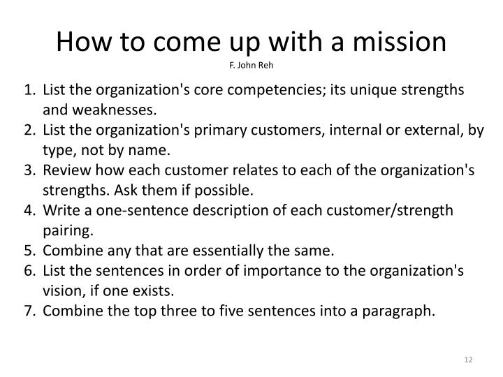 How to come up with a mission