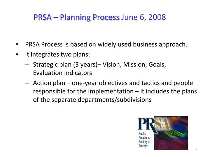PRSA – Planning Process