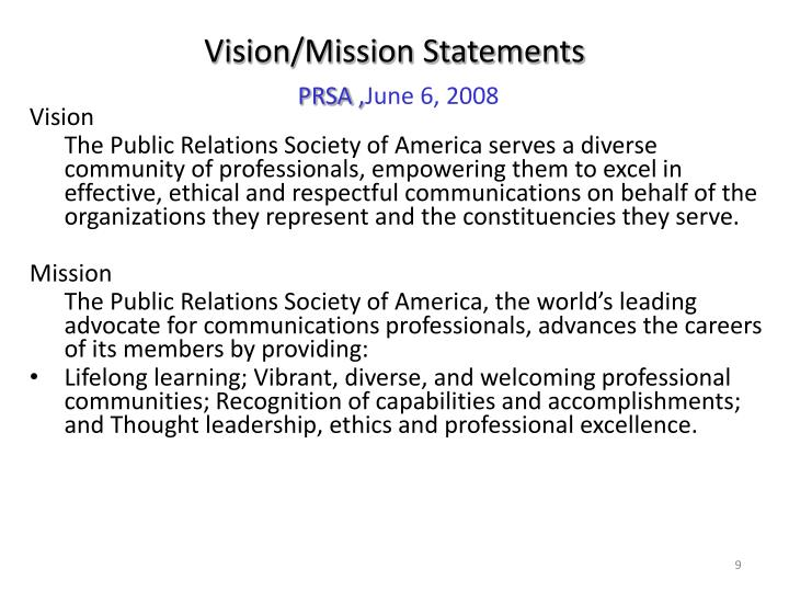 Vision/Mission Statements