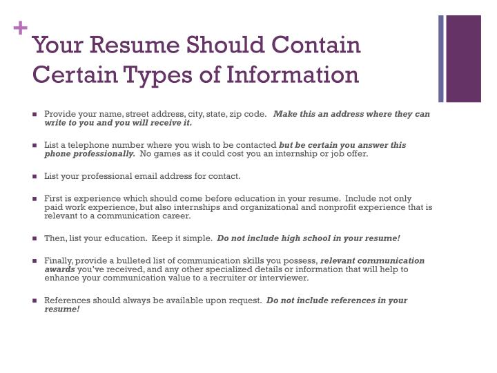 Your Resume Should Contain Certain Types of Information