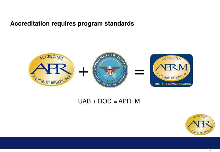 Accreditation requires program standards