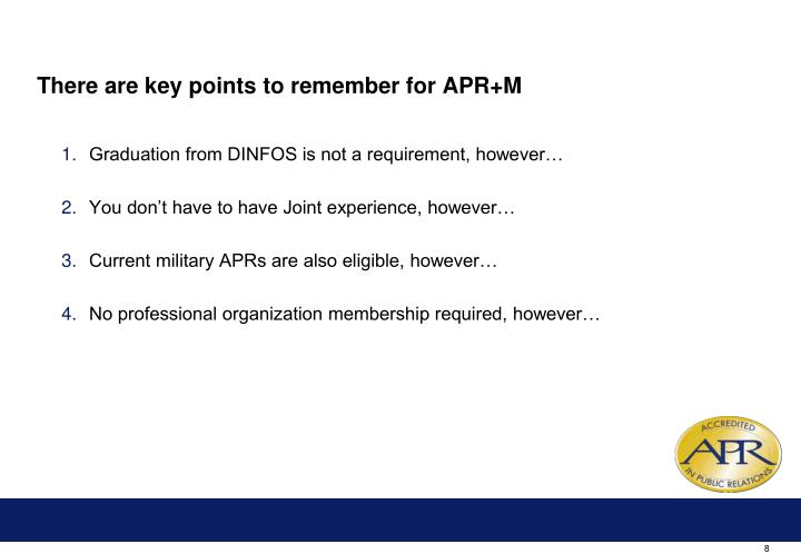 There are key points to remember for APR+M