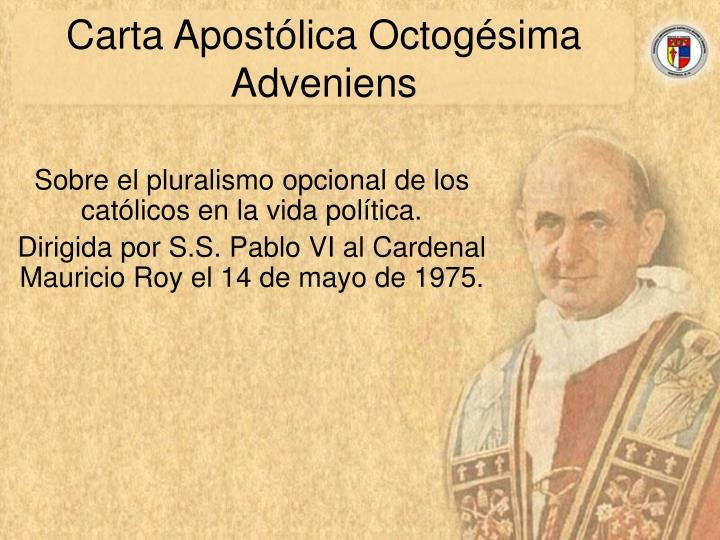 Carta apost lica octog sima adveniens